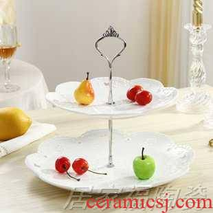 Three snack plate cake plate multilayer ceramic fruit bowl European pastry dish sitting room creative candy tray rack