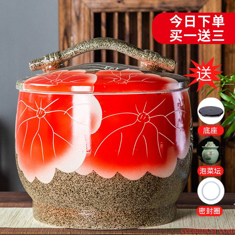 Jingdezhen ceramic barrel 10 jins 20 jins 30 jins home storage tank is sealed with cover ricer box tank cylinder moistureproof