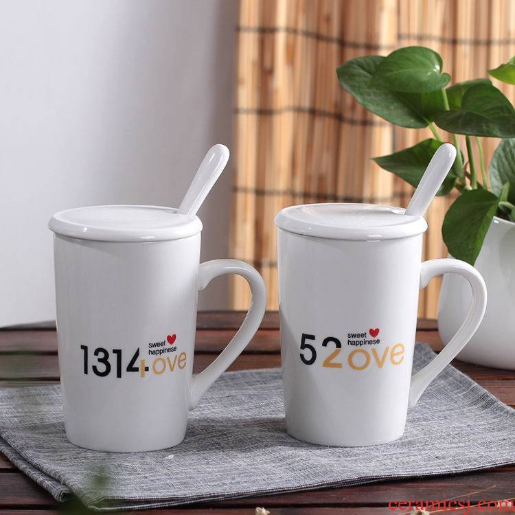 Ceramic household glass suits for lovers a pair with cover cup han edition mark a cup of coffee with a spoon, cup package mail