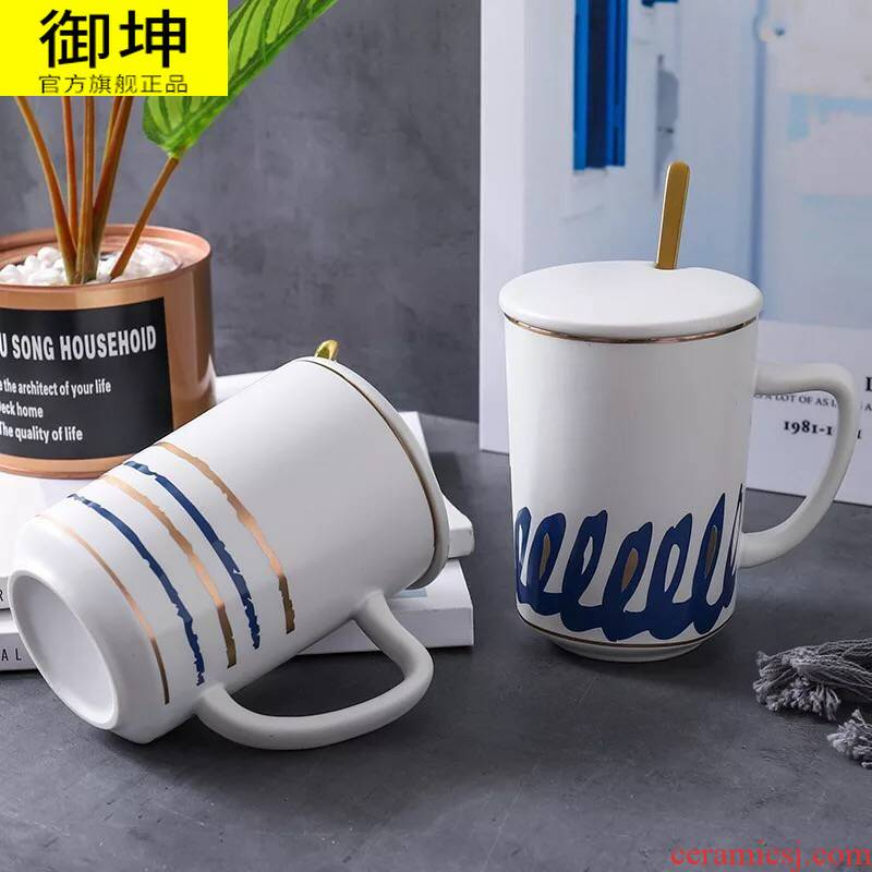 Large capacity British royal of jingdezhen ceramic cup mark cup with cover spoon coffee cup milk cup cup men and women