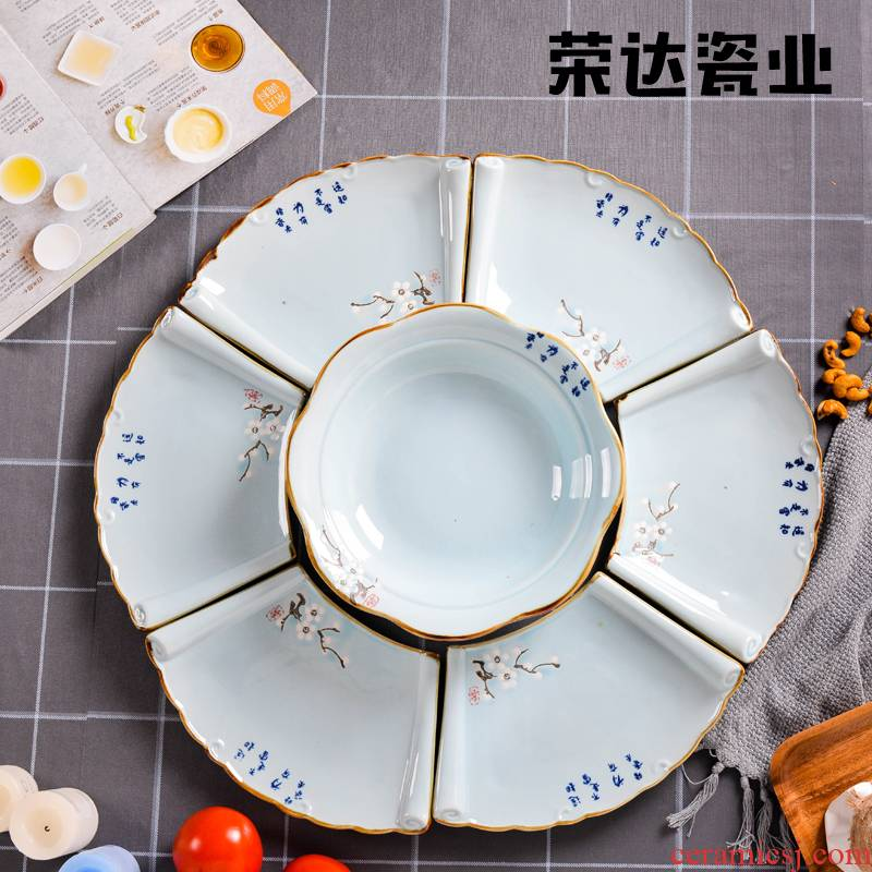 Creative ceramic platter combination suit pie dish dish plate hotels family dinner party household tableware large soup bowl