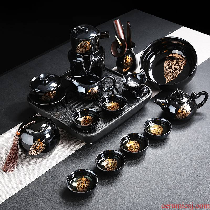 Gold konoha lazy kung fu tea set home built automatically light stone mill ceramic tea cup teapot tea tray