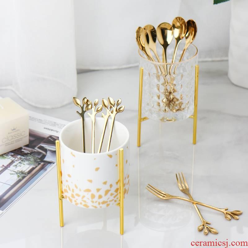 European - style key-2 luxury fruit fork suit creative household ceramics receive tank stainless steel fruit leaves the fork fork