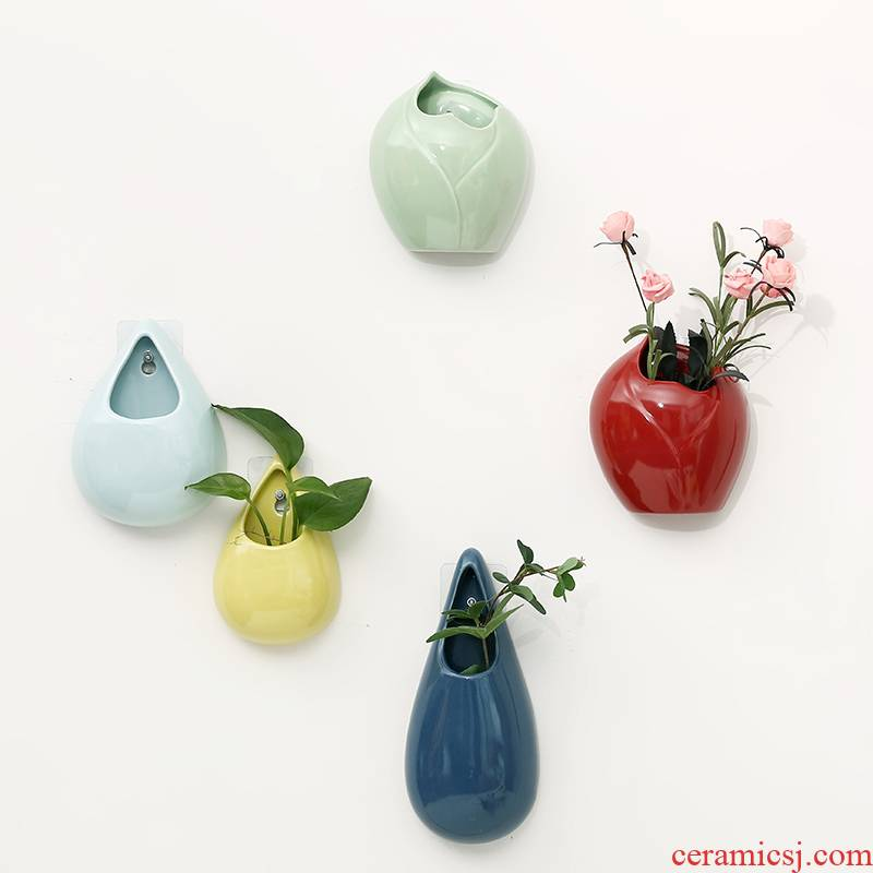 Creative hydroponic hanging pot hanging on the wall hanging flower adornment flowers water raise money plant ceramic vase
