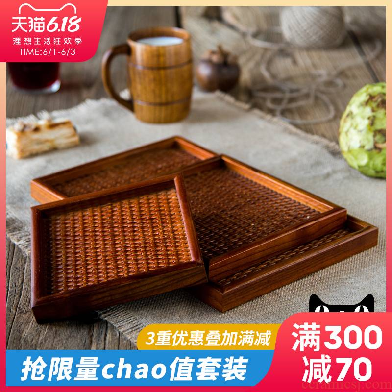 Ijarl m letters jia Japanese the cane top service up the tray household creative compote square wood slippery ground tea wooden tray