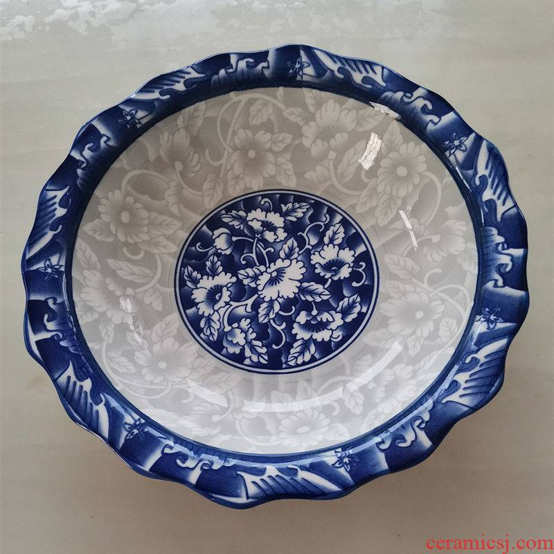 Under the blue and white porcelain ceramic glaze color lotus the food bowl of soup bowl malatang household bowl of boiled fish soup bowl pickled fish dish bowl