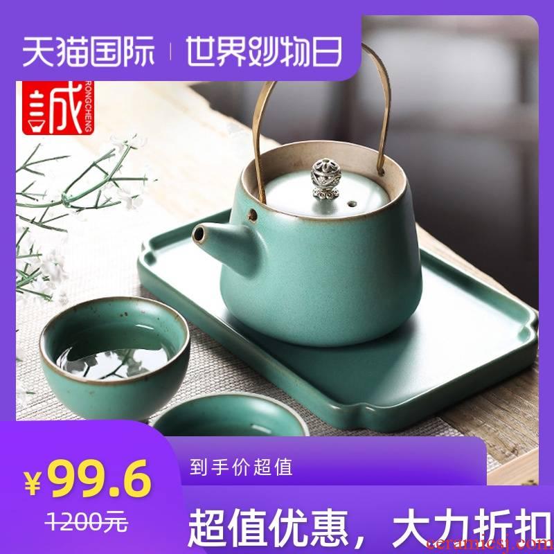 Japanese girder pot of tea sets tea cup household contracted kung fu tea set a pot of two ceramic teapot tea tray