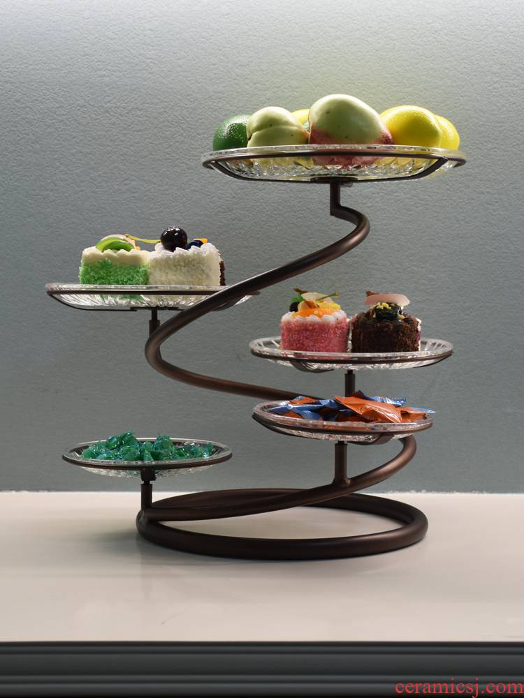 Ou, wrought iron multilayer fruit bowl cake frame creative heart of sitting room afternoon tea tray was wedding snack in northern Europe