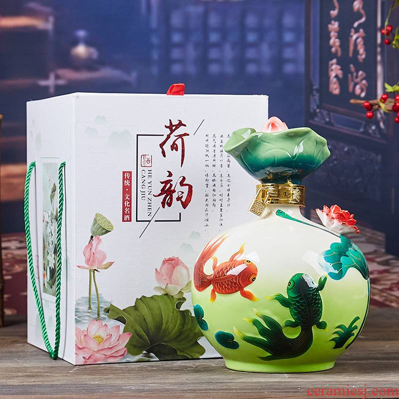 Jingdezhen ceramic bottle colored enamel fish creative home furnishing articles 5 jins of 10 jins lotus household altar wine pot liquor