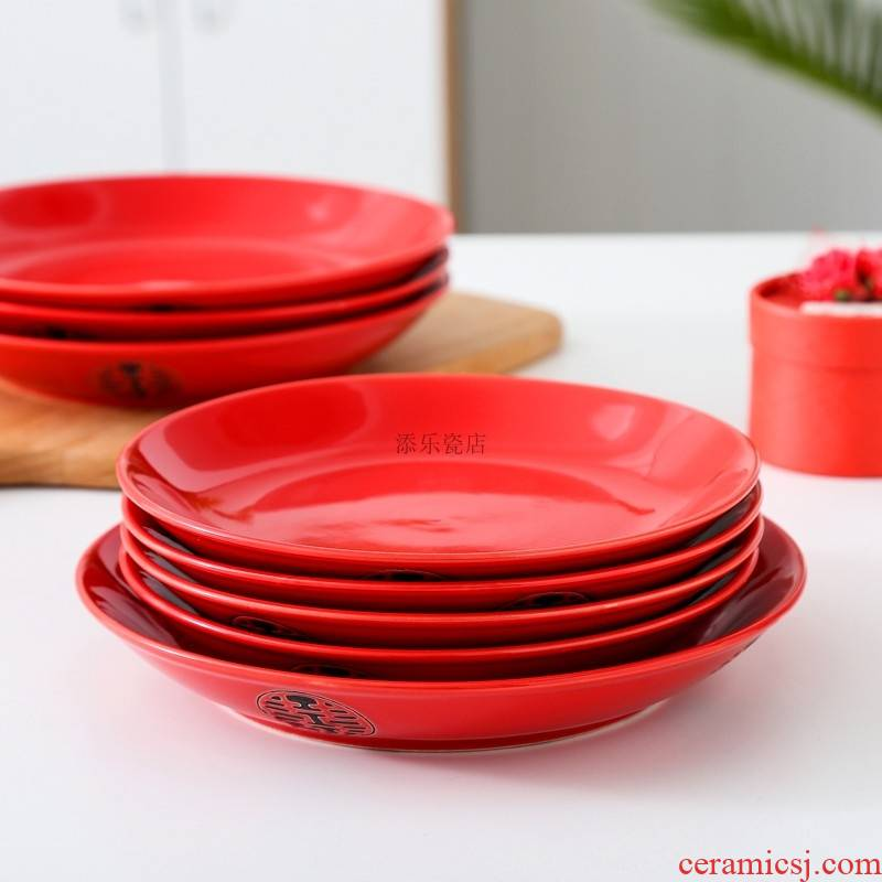 BQ red household ceramic dishes suit wedding festive red plate plate plate happy character set 7 8 inches wedding