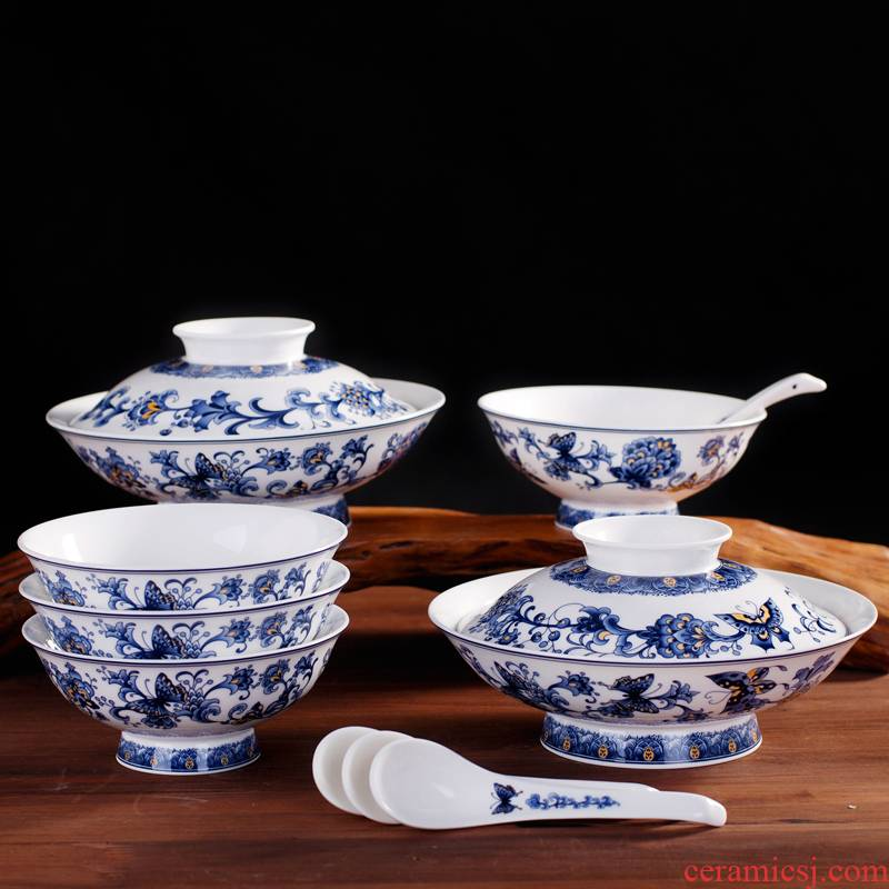 Jingdezhen porcelain, ipads China blue and white peony glair tableware high dishes suit Chinese style household with cover