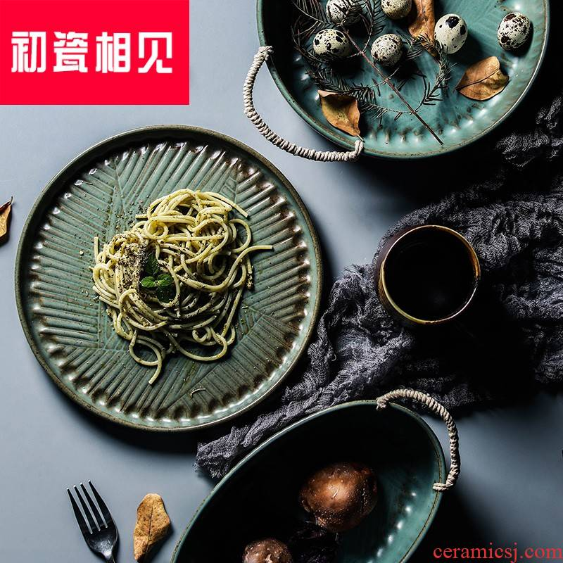 Early porcelain meet creative porcelain Japanese tableware ceramics from antique do old hand - woven hemp fruit bowl of soup