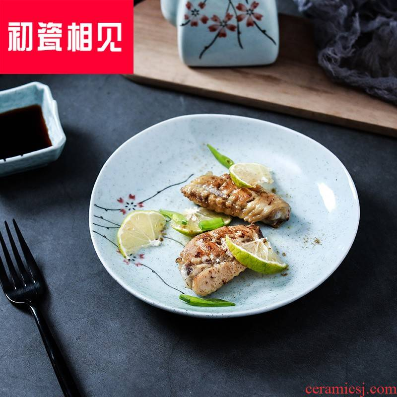 Meet early porcelain ceramic tableware breakfast dishes LiuYing triangle plate snack plate of Japanese small creative side dishes