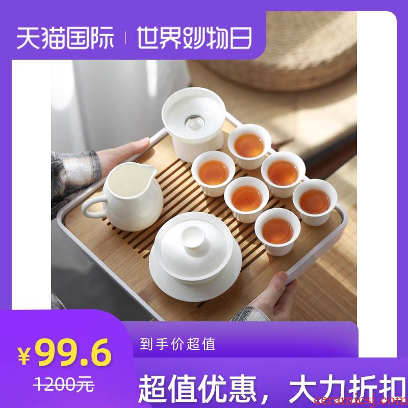 Dehua kung fu tea set office Japanese household contracted the teapot tea tray was white porcelain ceramic cups small tureen