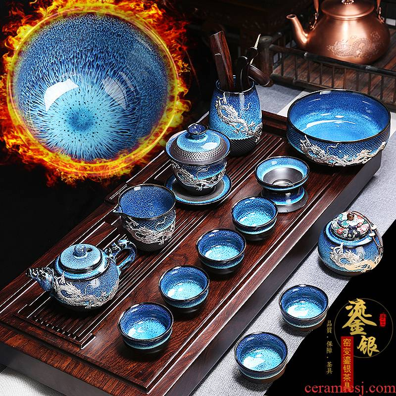 Build light tea set household kung fu tea cup teapot GaiWanCha red glaze, the small set of office of the lounge