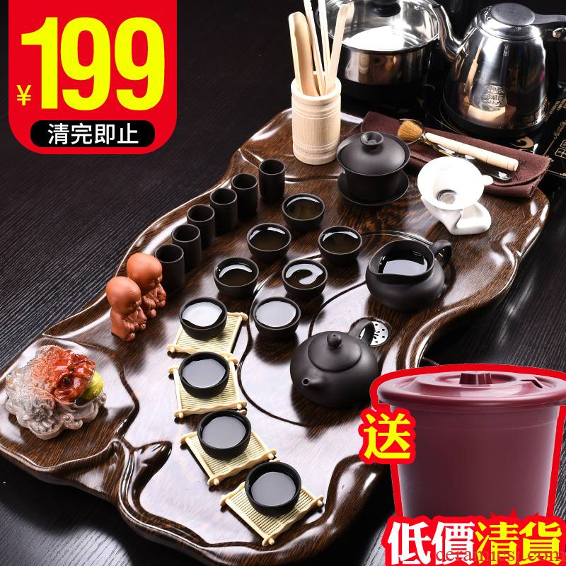 JiaXin kung fu tea set the home office of a complete set of Chinese ceramic tea set contracted tea tea table solid wood tea tray