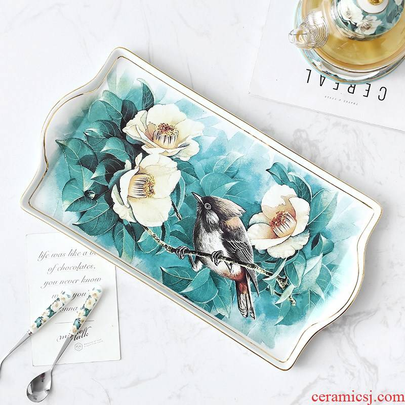 Cuckoo rural wind rectangle ceramic cups pallet creative tea cake for household adornment fruit bowl