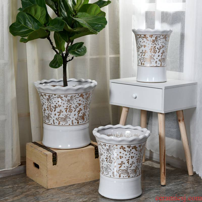 White paint everyone ceramic flower pot large extra large household European air ground tiger orchid basin of the rich tree
