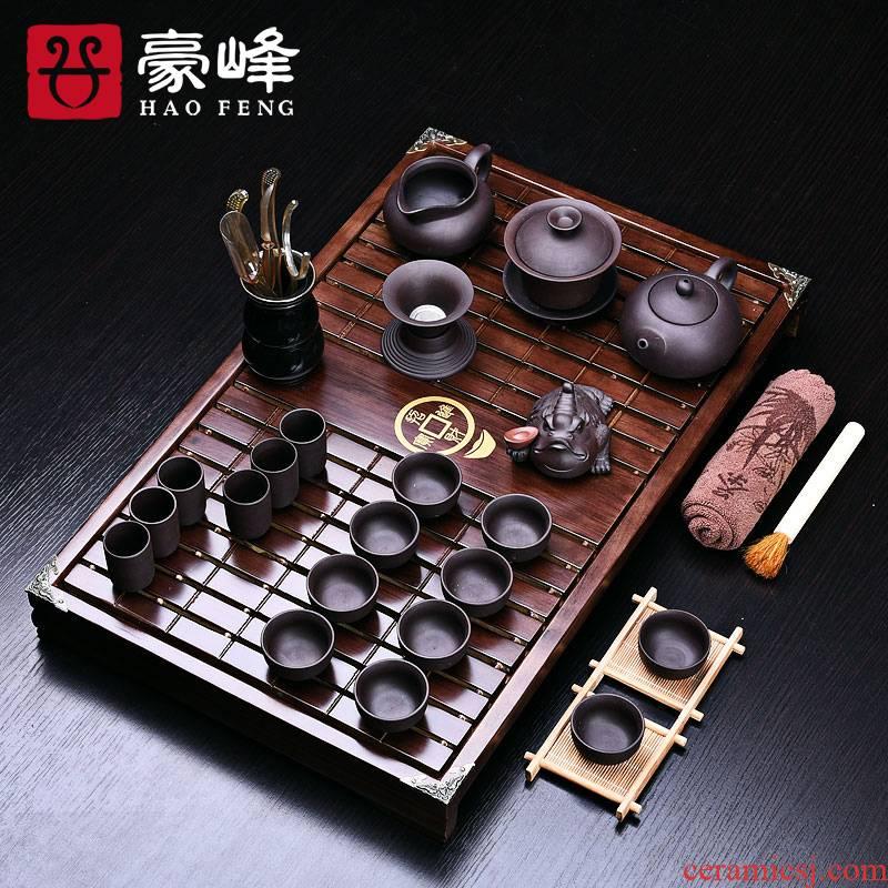 HaoFeng tea set solid wood tea tray tea tea tea table of a complete set of solid wood tea tray was kung fu tea set