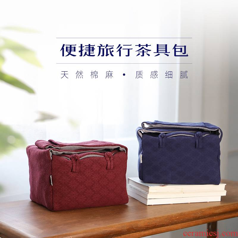 The Escape ooze hall jingdezhen cotton and linen tea set to receive a bag large is suing portable bag tea people the cloth bag tea art training package
