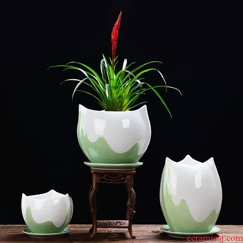Celadon domestic large fleshy green plant butterfly orchid plant bracketplant flowerpot ceramic office money plant pot basin