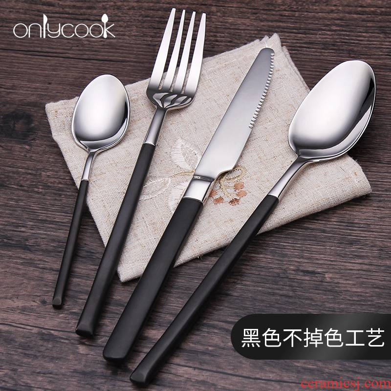 Onlycook high - grade black gold steak knife and fork suit western - style food tableware, 304 stainless steel knife and fork spoon, three - piece suit