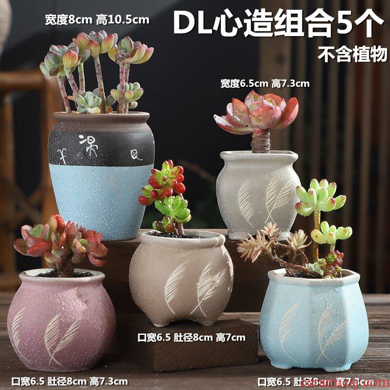 Fleshy coarse pottery flowerpot ceramic creative move meat meat the plants breathe freely special offer a clearance of large diameter in the small pot