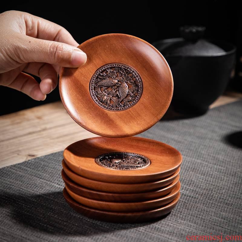 Six pack red wingceltis teacup pad set solid wood tea zen tea cup insulation mat cup tea accessories
