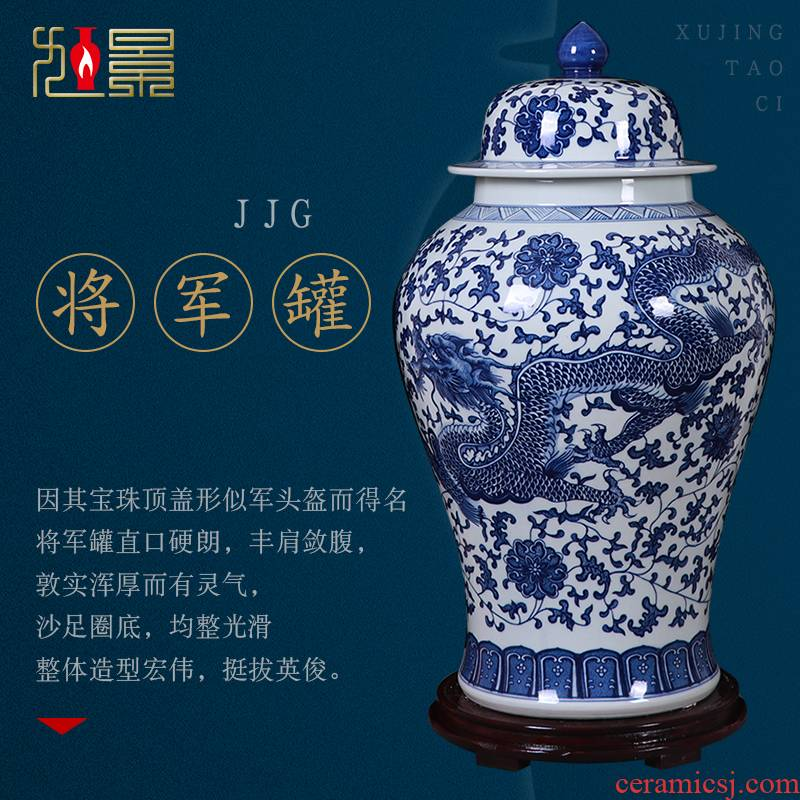 Jingdezhen blue and white porcelain hand - made ceramics new Chinese be born the general pot of home sitting room hotel large decorative furnishing articles