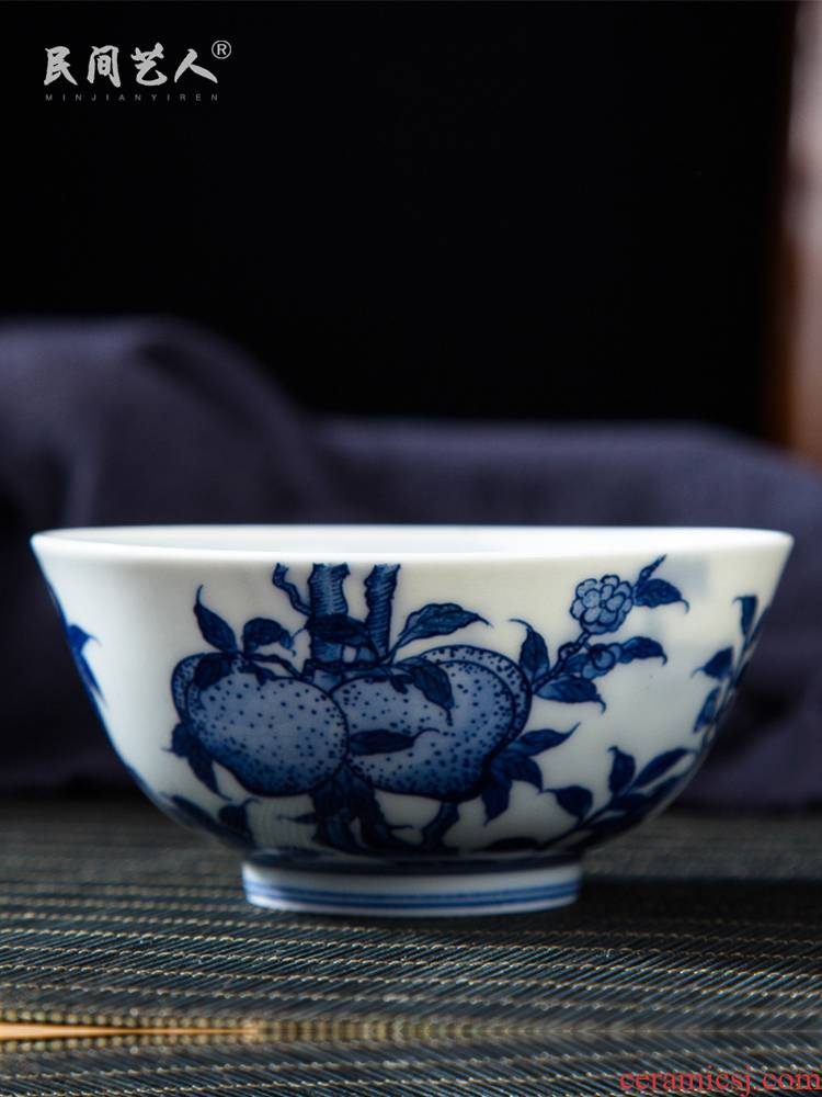 Folk artists hand - made nine peach wufu master cup single cup of blue and white porcelain jingdezhen ceramic large tea cups