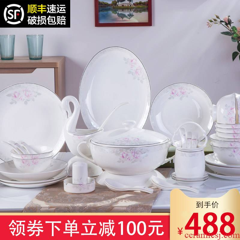The dishes suit household contracted combination Chinese jingdezhen ceramics tableware suit household Korean dishes