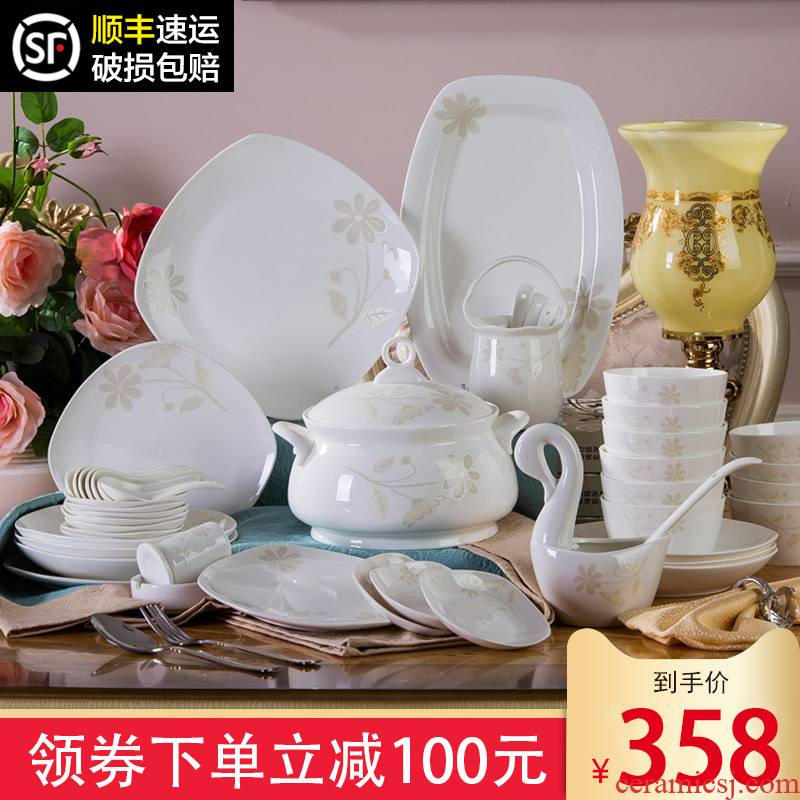 Jingdezhen 58 head Korean ipads porcelain tableware suit square Chinese dishes and fresh combination dishes suit household