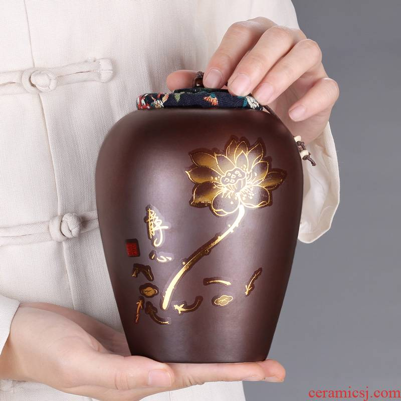 The flute ceramic creative caddy fixings firewood seal pot small tea boxes mini storage tank to customize LOGO