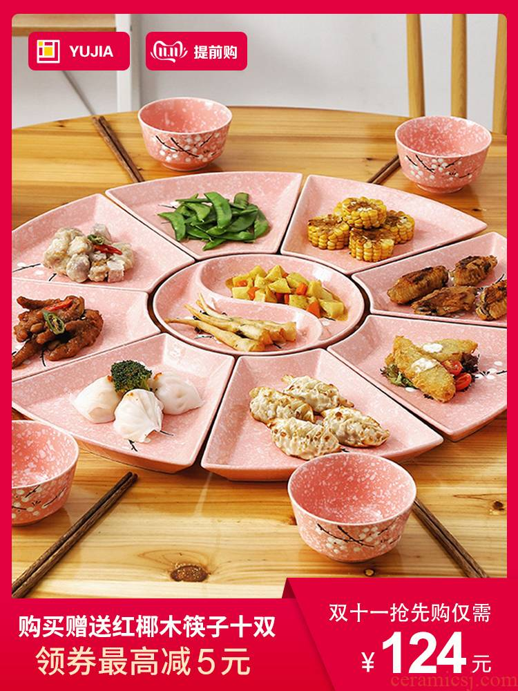 Combination of web celebrity dinner table fan ceramic seder creative household suit plate is provided with the food dish platter