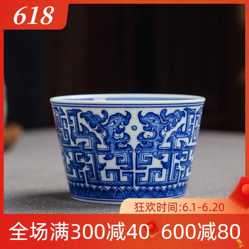 Folk artists hand - made dragon grain blue and white porcelain pot cup of jingdezhen ceramics by hand kung fu tea master single CPU