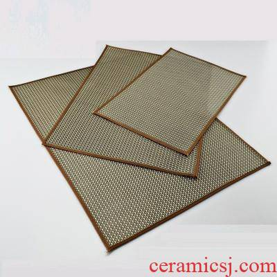 Bamboo Bamboo durable cloth tea cup mat Bamboo tea cup kung fu heat insulation cup mat filter bowl with oblong