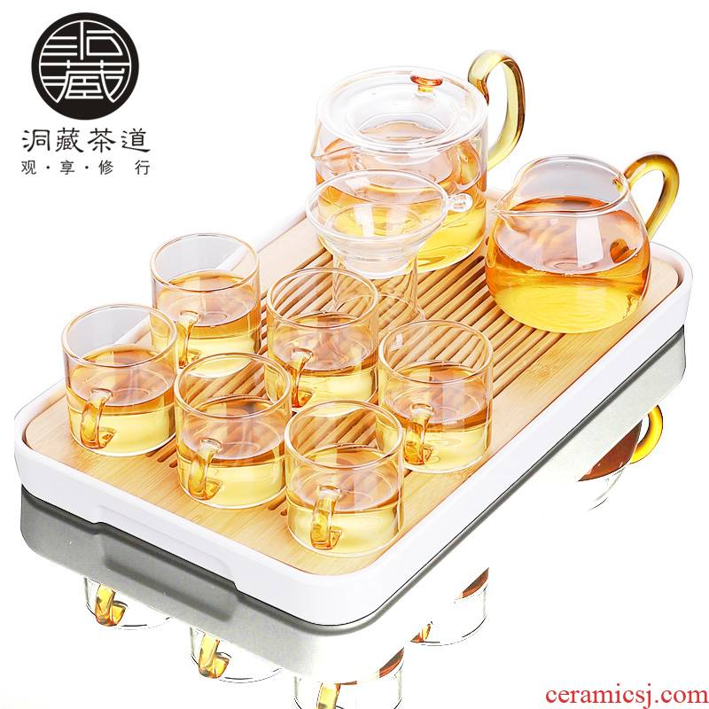 In building glass tea set kung fu tea cup flower pot transparent contracted and I tea tea, home