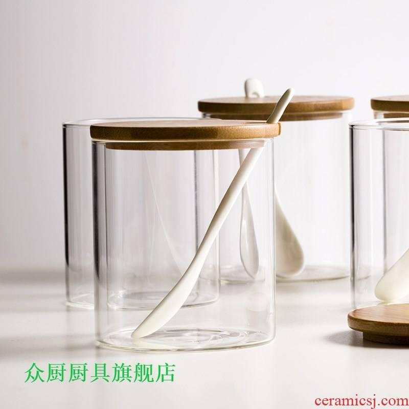 Japanese household ceramics glass kitchen seasoning salt pot, sugar pot 1 single large sauce 1 catty boxed set