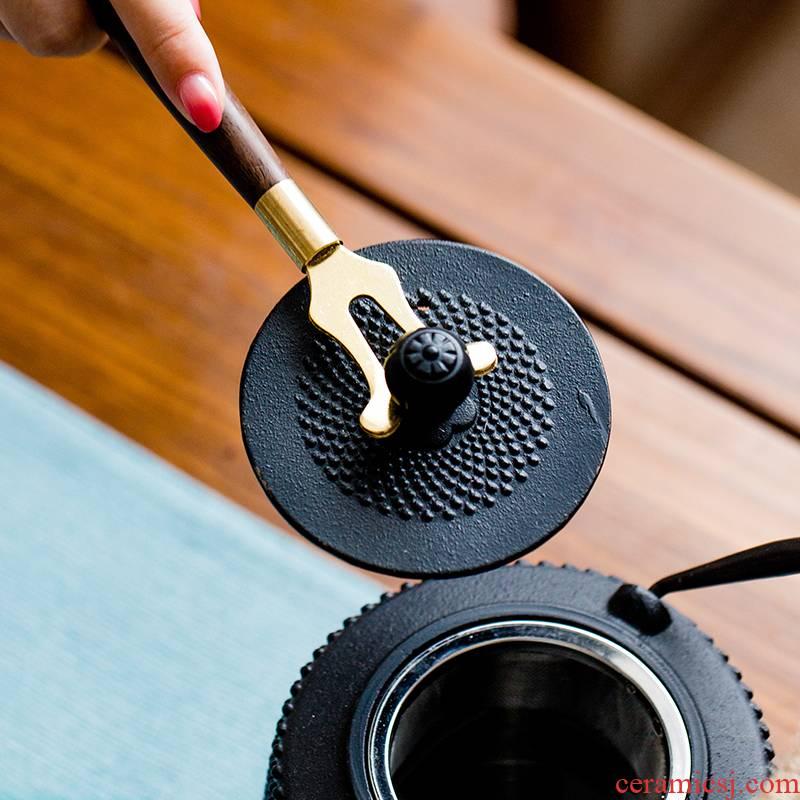 Iron pot lid fork fork Japan cast Iron clamp ebony handle metal fork kung fu tea tea accessories ironing