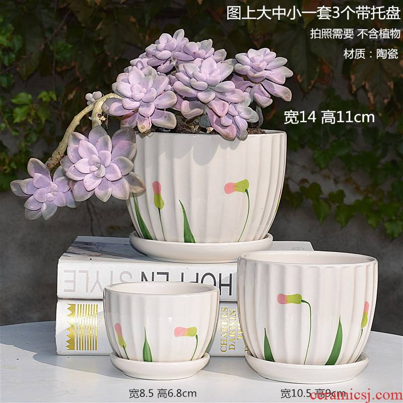 Flowerpot ceramic oversized special offer a clearance other plastic meaty plant bracketplant creative move with tray package mail