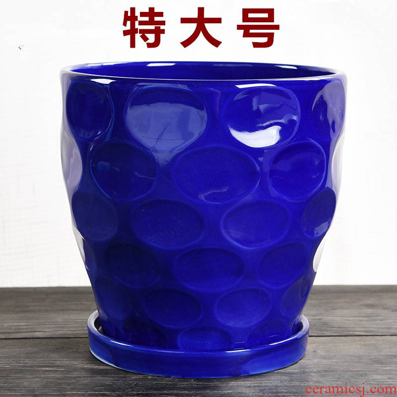 Heavy flowerpot ceramic large special offer a clearance creative household with tray was high money plant bracketplant fleshy flower pot