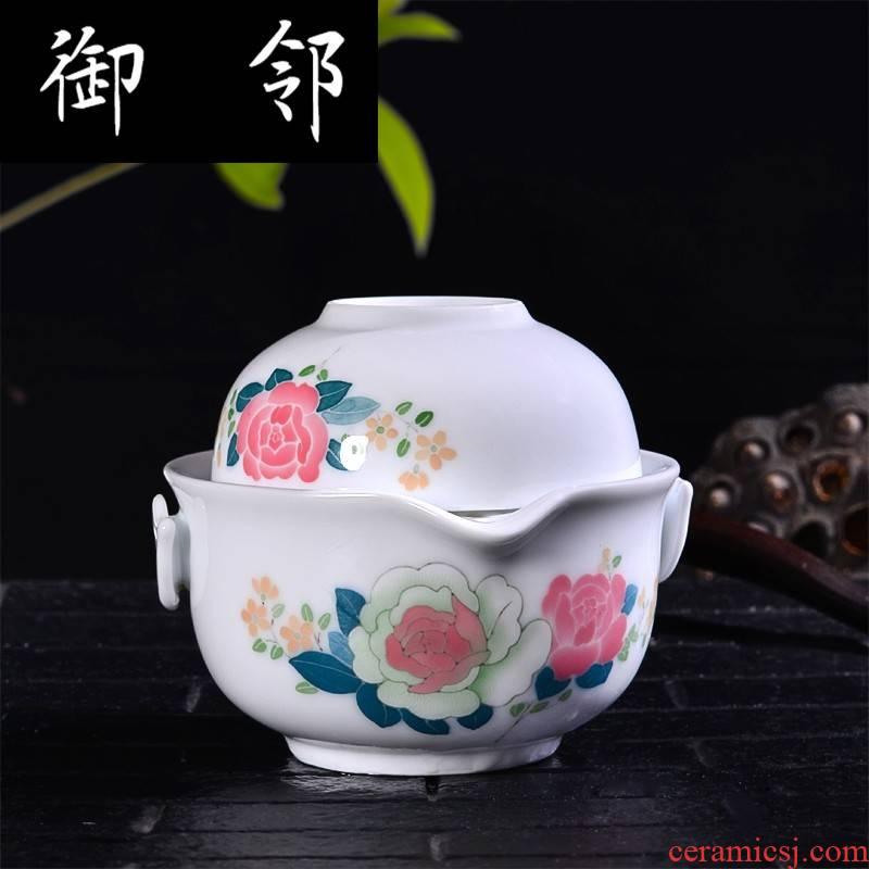 Under the liling glaze colorful porcelain crack cup a pot of grasp on a pot of portable travel tea set