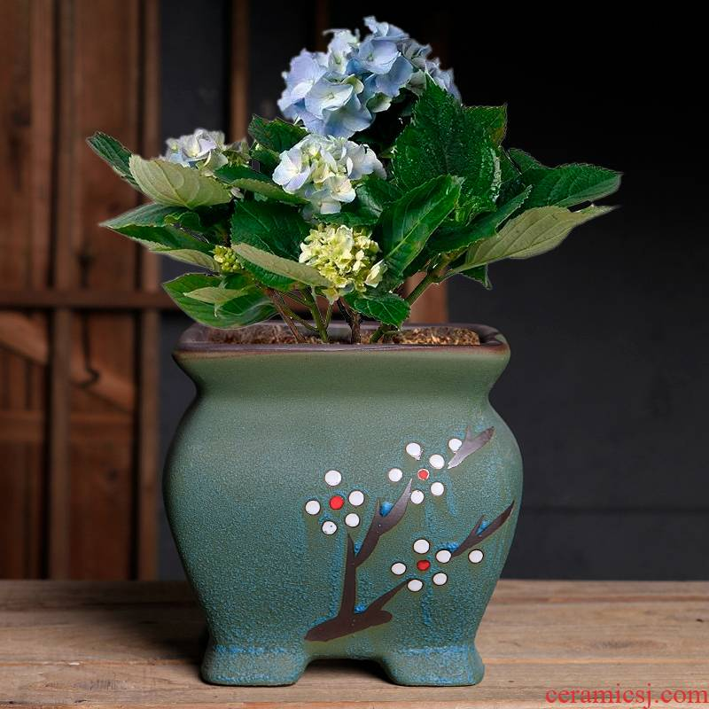 Fleshy butterfly orchid flower POTS old running clearance of creative move of large diameter coarse pottery breathable ceramic basin of orchid the plants