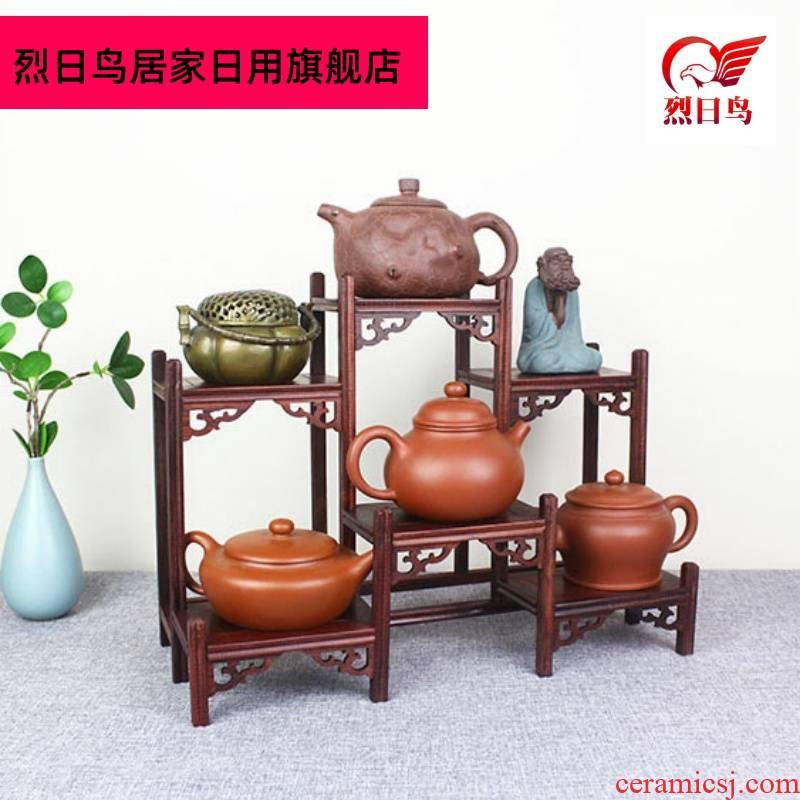 Cup rack solid wood tea tea cake stand little rich ancient frame cabinet receive shelf region of purple sand teapot tea set