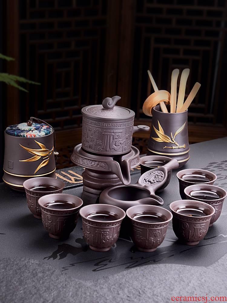 JiaXin lazy tea set suit household automatic rotating stone mill violet arenaceous kung fu tea tea tea tea tray
