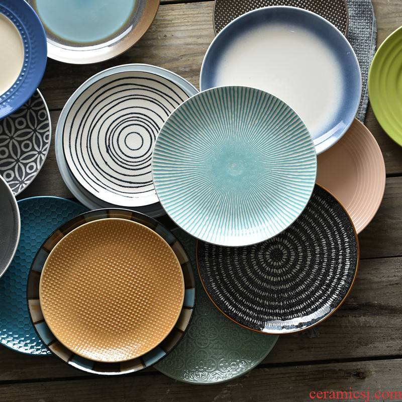 "Art home 8 ""move Japanese - style tableware dinner plate creative home plate round steak ceramic plate plate plate"