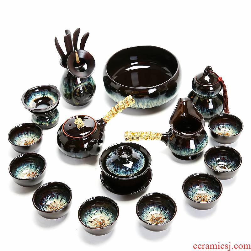 Tea set household contracted to build one tasted silver gilding kung fu Tea red glaze, a complete set of ceramic teapot Tea cups
