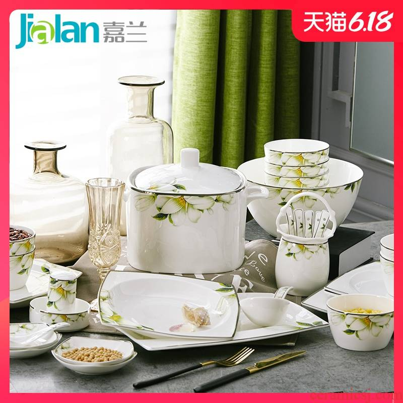 Jia LanJianKang ipads porcelain tableware yellow up phnom penh dish plate ceramic household European creative rainbow such as bowl of soup can customize