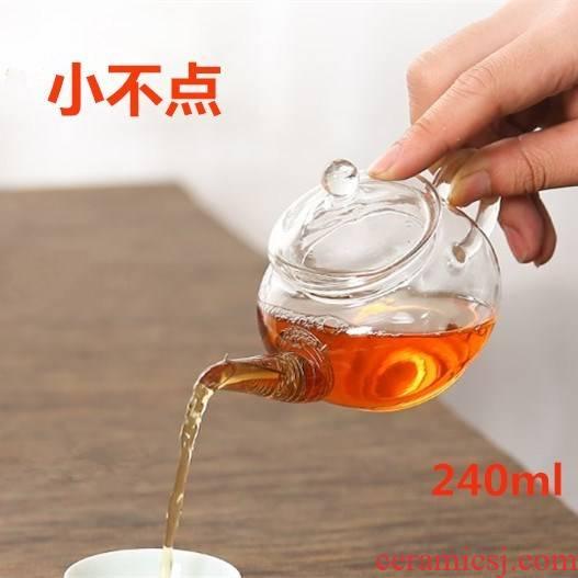 The Mini heat more transparent lead - free glass teapot small single kung fu tea boiled tea, black tea flower pot