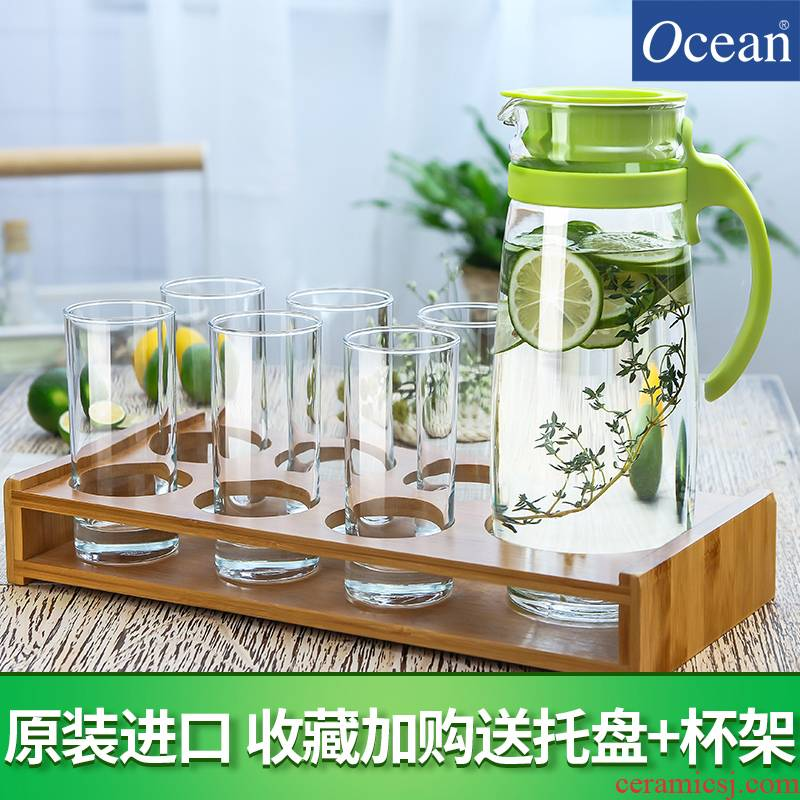 Cold Ocean import glass bottle cooler kettle domestic large capacity high temperature Cold boiled water glass suits for the teapot